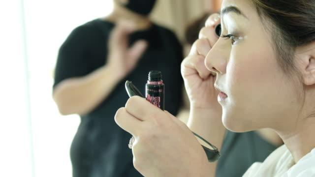 Close Up Of Applying Mascara,beautiful woman applyling mascara video