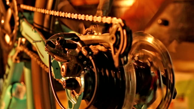 Close up of bicycle gear system video