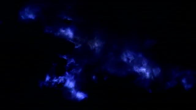 Close up of blue lava (blue sulfur flames) at volcano, Kawah Ijen volcano, East Java, Indonesia. video