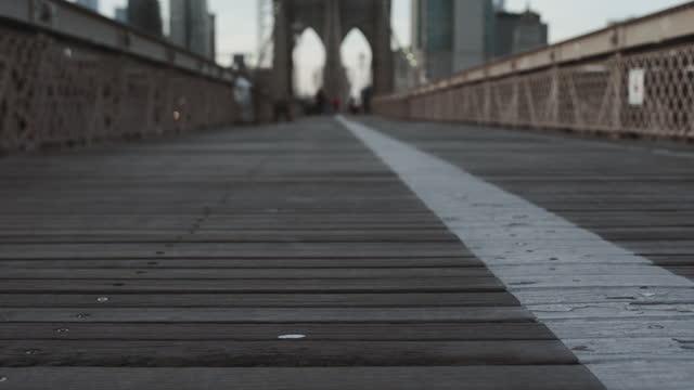 Close up of Brooklyn Bridge footpath