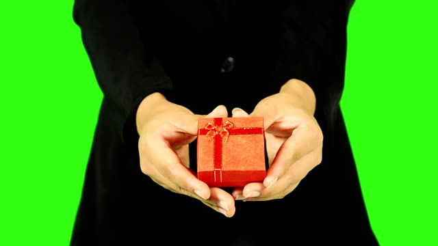 Close Up Of Business Woman Giving A Gift video