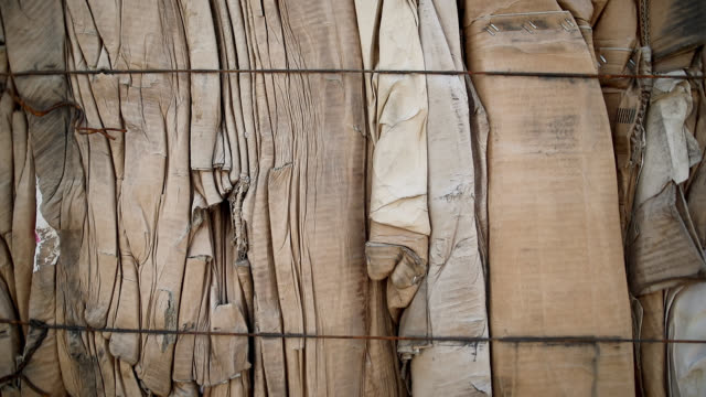 close up of cardboards, stacked and ready for recycle - recycling stock videos & royalty-free footage