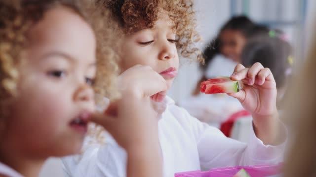 vídeos de stock, filmes e b-roll de feche acima das crianças que comem seus almoços embalados junto na escola infantil, foco da cremalheira - almoço