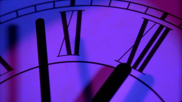 Close up of clock at midnight video