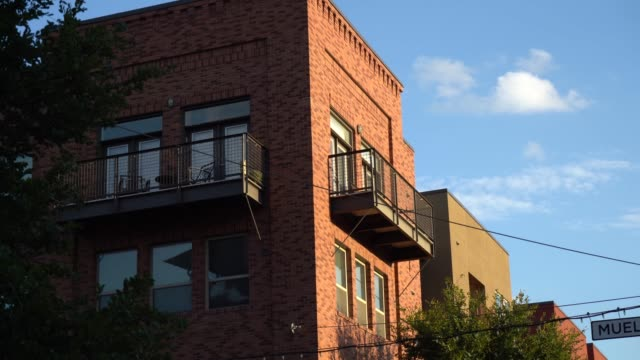 Close Up of Corner Apartment Building on a Late Afternoon