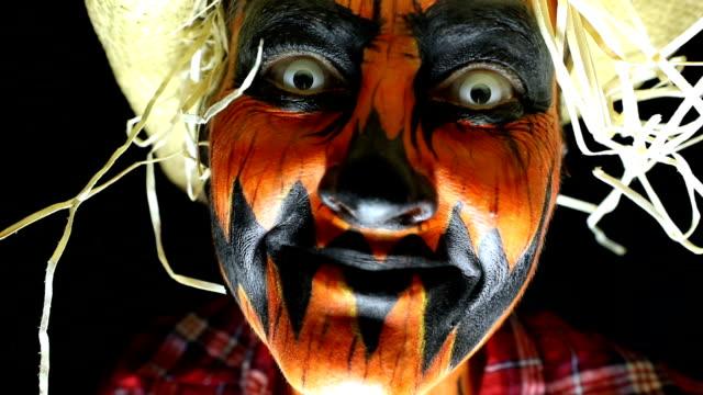 Close Up of Creepy Halloween Scarecrow