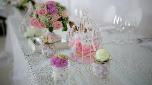 Close up of decoration at wedding reception video