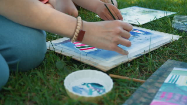 Close Up of Drawing with Watercolors in Nature