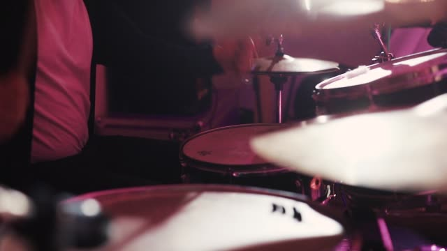 Close up of Drummer Hand Playing Drum Plate video