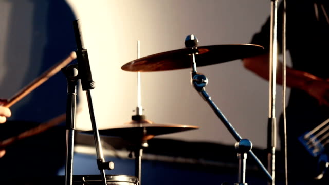 Close Up Of Drummer Playing Drum and Rock Musician Playing Electrical Guitar Plays Music On Concert. video