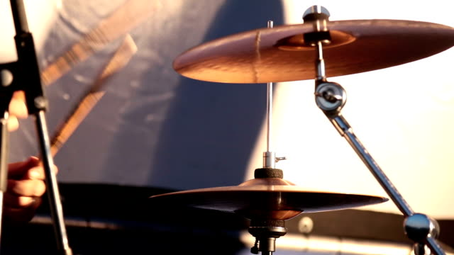 Close Up Of Drummer Playing Drum Plays Music On Concert. video