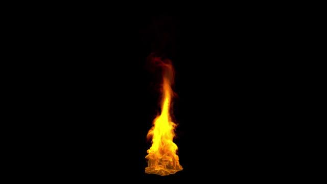 vídeos de stock, filmes e b-roll de feche acima das chamas de fogo, loop perfeito, canal alfa - fogo