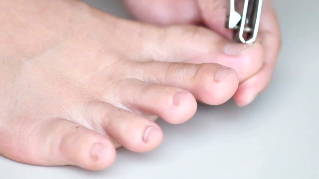 Close up of foot during a cleaning, pedicure video