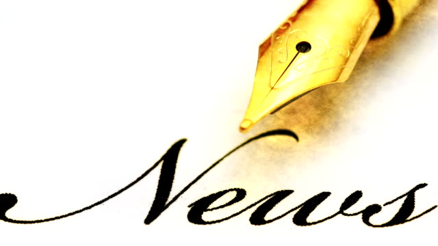 close up of fountain pen on news - newsletter video stock e b–roll