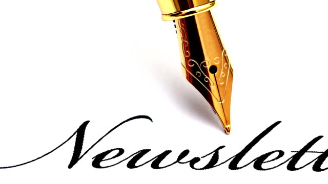 close up of fountain pen on newsletter text - newsletter video stock e b–roll