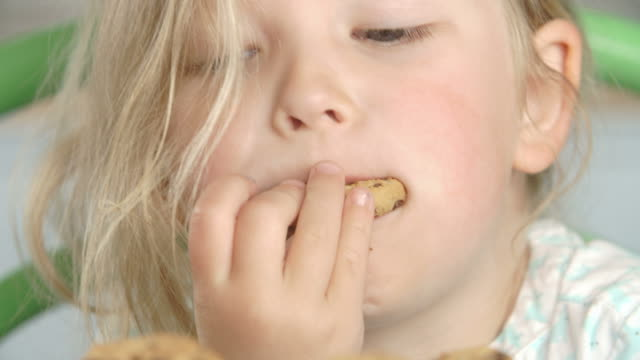 Close Up Of Girl Eating Chocolate Chip Cookie Close Up Of Girl Eating Chocolate Chip Cookie cookie stock videos & royalty-free footage