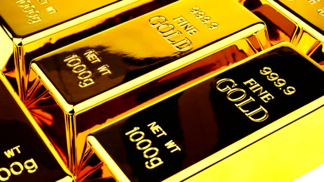 Close up of gold bars. Financial concept video