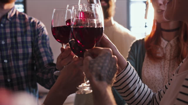 close up of group of friends toasting with red wine. - alchol video stock e b–roll