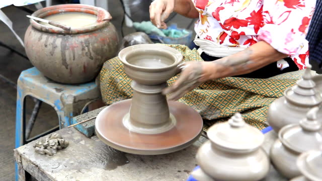 Close up of hands making earthen jar video