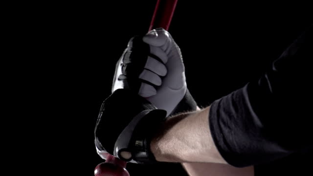 close up of hands on a baseball bat, slow motion - baseball stock videos and b-roll footage
