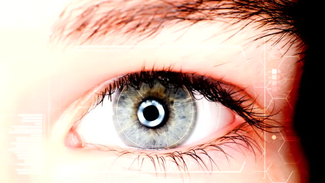 Close up of high tech futuristic eye, zoom in Close up of high tech futuristic eye, zoom in cyborg stock videos & royalty-free footage