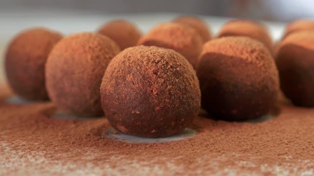 close up of homemade raw vegan energy balls with cocoa powder lying in a row - посыпать стоковые видео и кадры b-roll