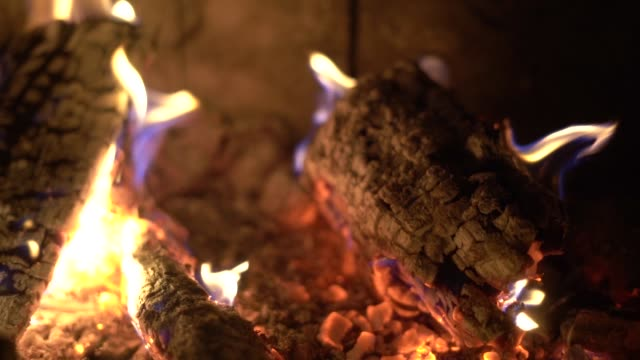 vídeos de stock e filmes b-roll de close up of hot burning fire wood coal slow motion - cinza