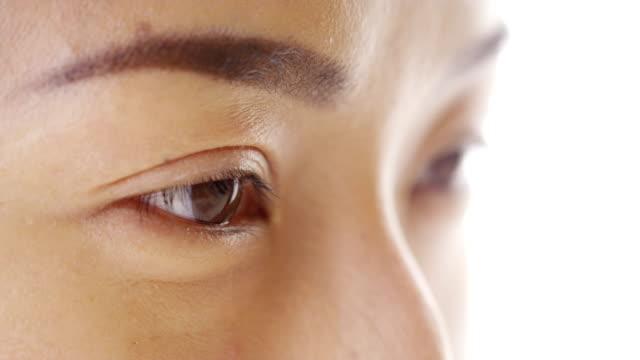 日本の女性のクローズアップの顔 - まつげ点の映像素材/bロール