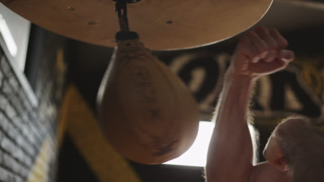 close up of male hands punching speed bag. fists of boxer hit punch bag - sacco per il pugilato video stock e b–roll