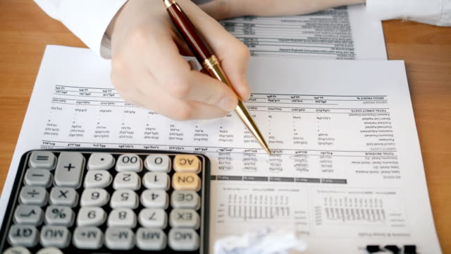 Close up of male manager hands accountant or banker making calculations audit checking video