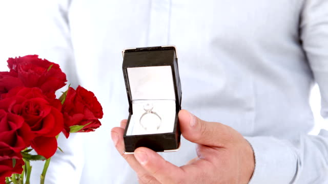 Close up of man making a proposal of marriage video