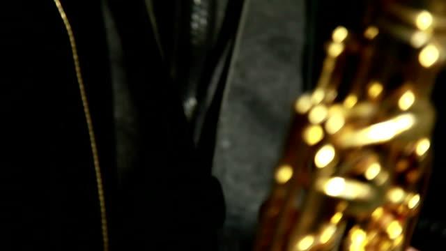 Close up of man playing saxophone video
