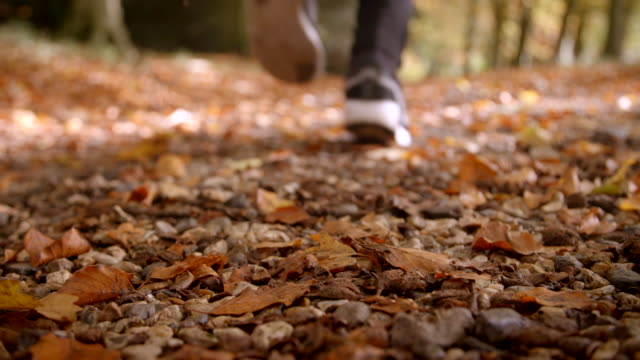 Close Up Of Man Running Through Autumn Landscape Close Up Of Man Running Through Autumn Landscape lockdown viewpoint stock videos & royalty-free footage