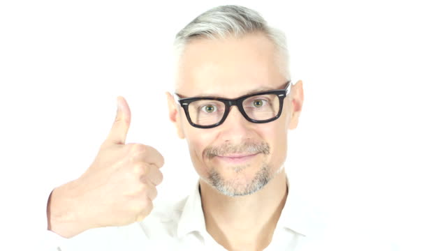 Close up Of  Man Showing Thumbs Up  , White Background video
