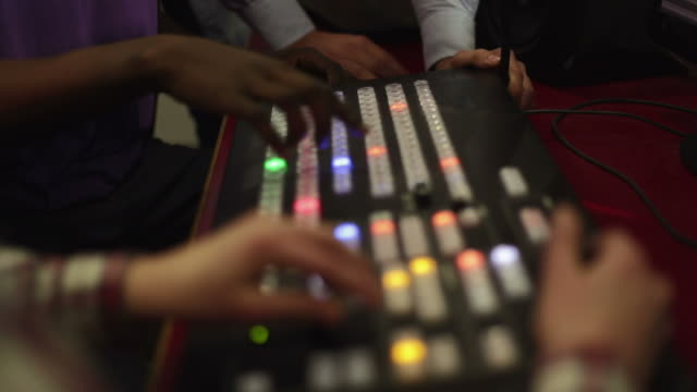 Close Up Of Mixing Console In TV Editing Suite video