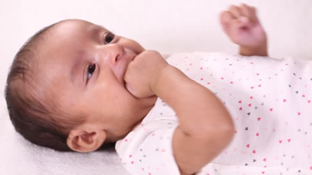 Close up of newborn baby video