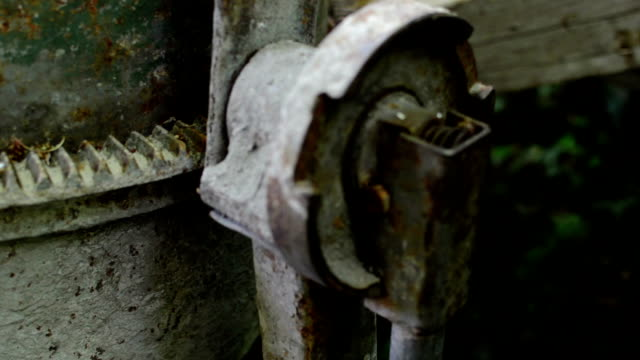 Close up of Old Rusty and dirty  Cement Mixer Close up of Old Rusty and dirty  Cement Mixer crank mechanism stock videos & royalty-free footage