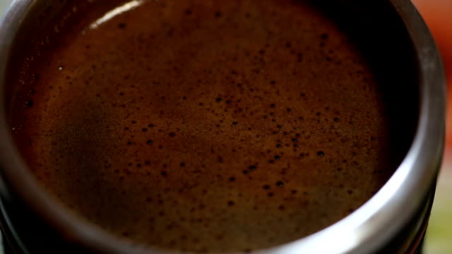 Close up of one cup of hot drink video