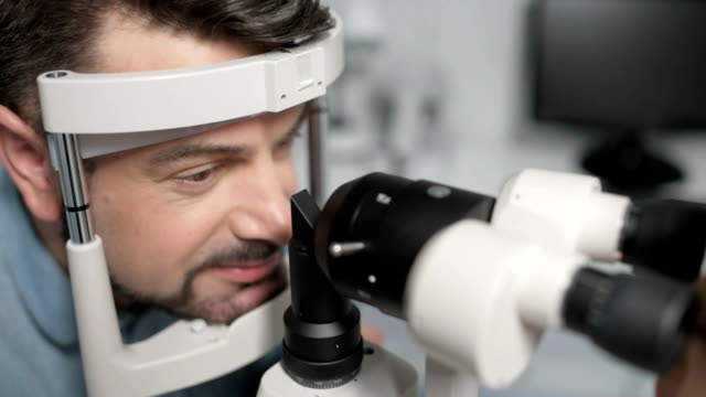 Close up of patient undergoing eye test video