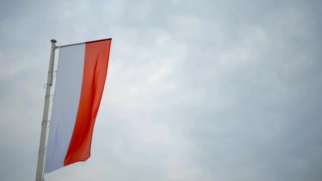 nahaufnahme der polnischen flagge nationale symbol polen - polnische kultur stock-videos und b-roll-filmmaterial