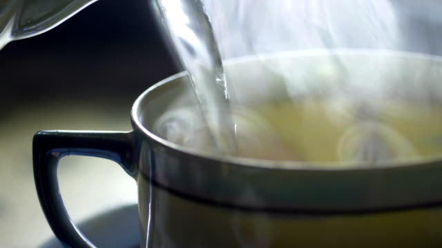 Close Up Of Pouring Tea Into A japanese Ceramic Cup video
