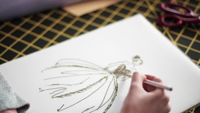 vídeos y material grabado en eventos de stock de planos de diseño profesional - bocetos de diseños de moda