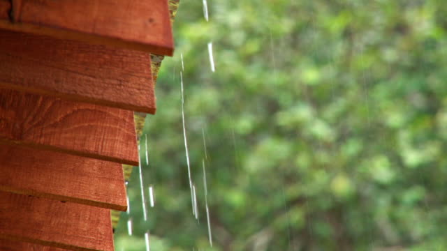 close up of rain dripping off a roof video
