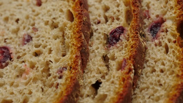 Close up of rye bread with cranberry video