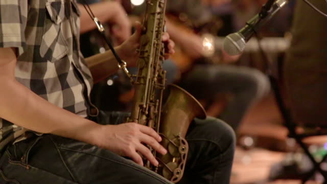 Close up of saxophone players video