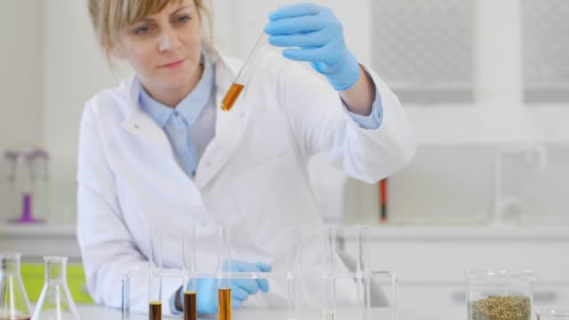 Close up of scientists working with CBD oil Close up of chemical scientists working with hemp CBD and CBDa oil in laboratory. She is using erlenmeyer flasks. Cannabis pharmaceutical healthcare concept. cbd oil stock videos & royalty-free footage