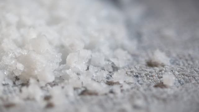 close up of sea salt on the table - salt video stock e b–roll