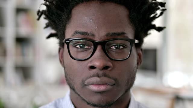 Close up of Serious African Man Face