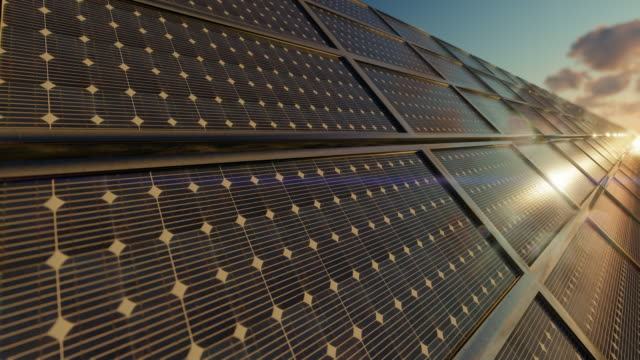 Close up of solar power panels farm against timelapse sunrise, 4K Close up of solar power panels farm against timelapse sunrise, 4K renewable energy stock videos & royalty-free footage