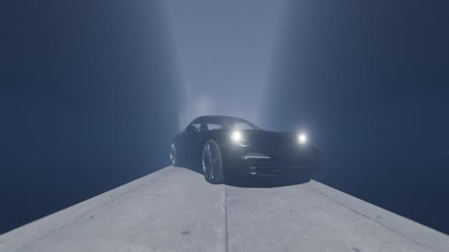 närd med sportbilsvarvningsstrålkastare och körning, 4k - wheel black background bildbanksvideor och videomaterial från bakom kulisserna